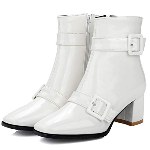 Boots Heel KingRover European Ankle White Chunky Style Buckle Women's Classic nrTaZTxq8w
