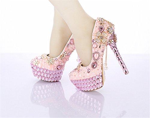 Shoes Pumps Stylish Miyoopark 14cm Pink Women's Heel Evening Bridesmaid LL151 Wedding Bridal H0gqZw8