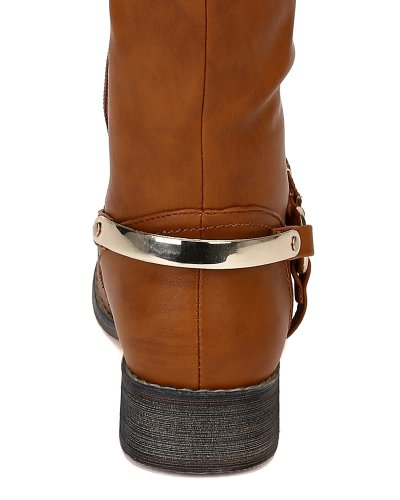 Riding Tan AF48 High Plating Leatherette 10 Boots Toe Breeze Gold Round Nature Olympia Knee nO6vFx1q