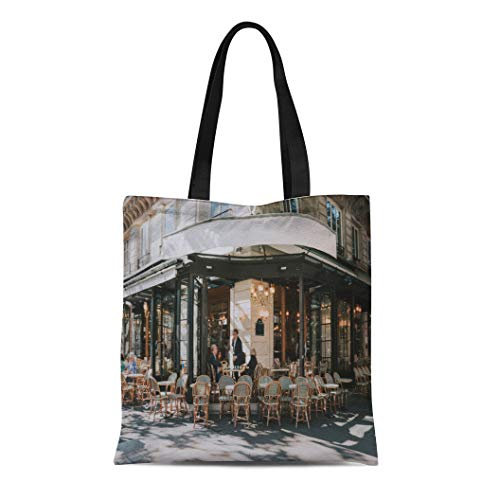 - Semtomn Canvas Tote Bag Shoulder Bags Typical View of the Parisian Street Tables Brasserie Cafe Women's Handle Shoulder Tote Shopper Handbag