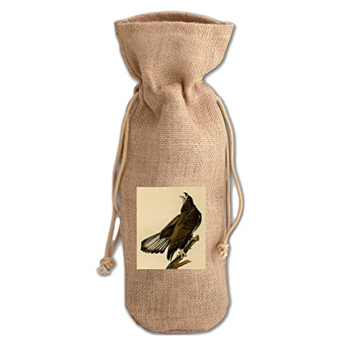 White Headed Eagle #2 (Audubon) Jute Burlap Burlap Wine Drawstring Bag White Headed Eagle