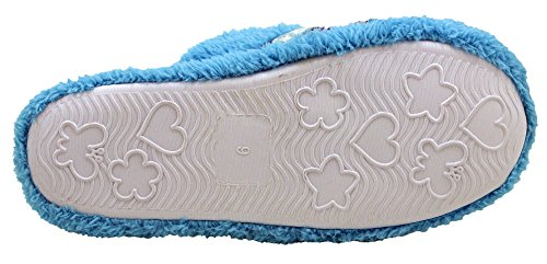 Women's Footbed House Shoes Padded Enimay Blue Slippers Fuzzy Loafers Soft Patterned BwdqzZxzU
