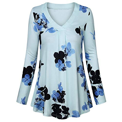 URIBAKE Womens Long Sleeve Floral Print Button Casual Loose Tops Tunic Ladies' Blouse Tees Shirt 3/4 -