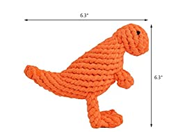 PUPTECK Dog Cotton Rope Toy Puppy Pet Tough Durable Chew Toys for Small or Medium Dogs Biting (Orange Dinosaur)