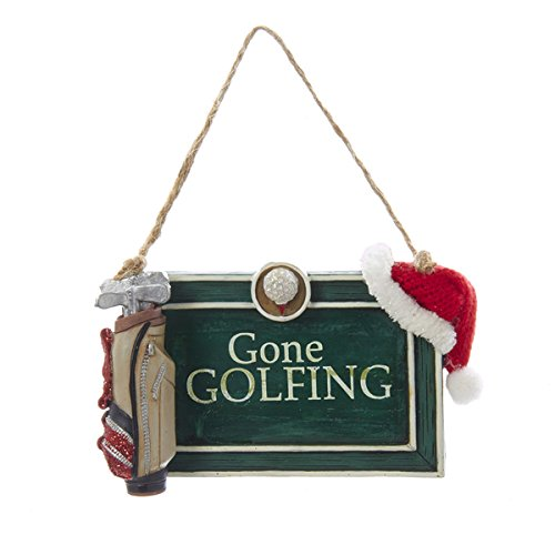 Santa Gone Golfing Green Sign Christmas Holiday Ornament