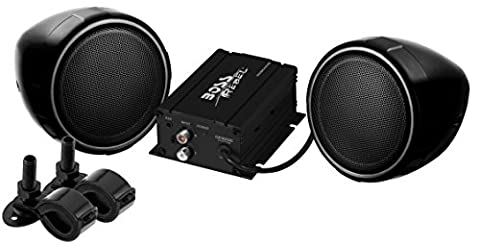 BOSS Audio MCBK420B Bluetooth, All-Terrain, Weatherproof Speaker And Amplifier Sound System, Two 3 Inch Speakers, Bluetooth Amplifier, Inline Volume Control, Ideal For Motorcycles/ATV and 12 Volt (2006 Toyota Sequoia Speakers)