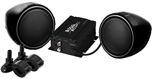 BOSS Audio MCBK420B Bluetooth, All-Terrain, Weatherproof Speaker And Amplifier Sound System, Two 3 Inch Speakers, Bluetooth Amplifier, Inline Volume Control, Ideal For Motorcycles/ATV and 12 Volt - Road Stores In Lincoln