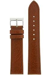 18mm Watch Band Genuine Leather Calfskin Grain Honey Brown Stitching Men