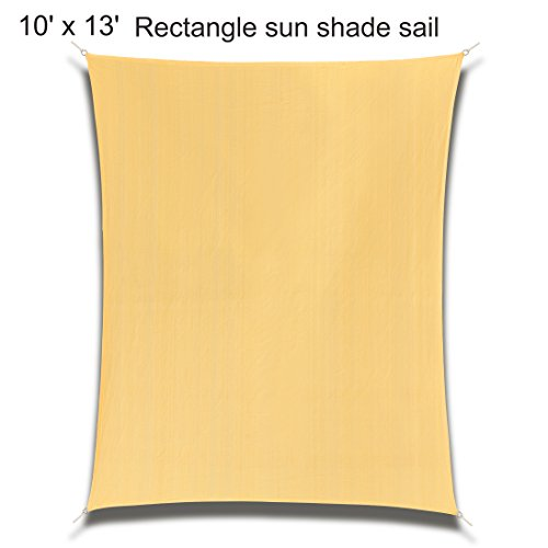 10' x 13' Rectangle Sand Sun Shade Sail, Durable UV Block Shelter Canopy Cover for Outdoor Patio Deck Garden LawnYard by Coconut