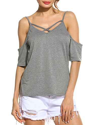 Naggoo Womens Shoulder Sleeve Casual