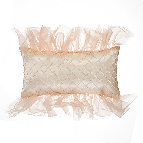Glenna Jean Remember My Love Pillow, Rectangle, Reversible Pink/Cream Pintuck by Glenna Jean (Image #1)