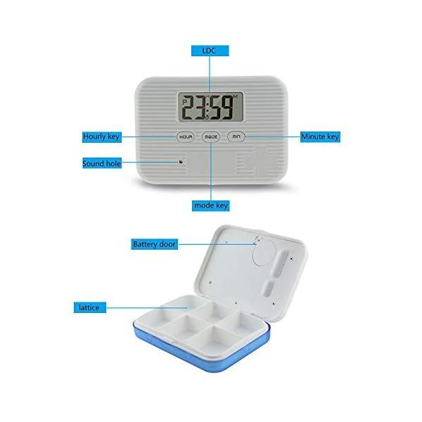KOBWA - Caja de almacenamiento para pastillas de medicina, digital, ligera, con 5 alarmas de temporizador, pastillero de… 6