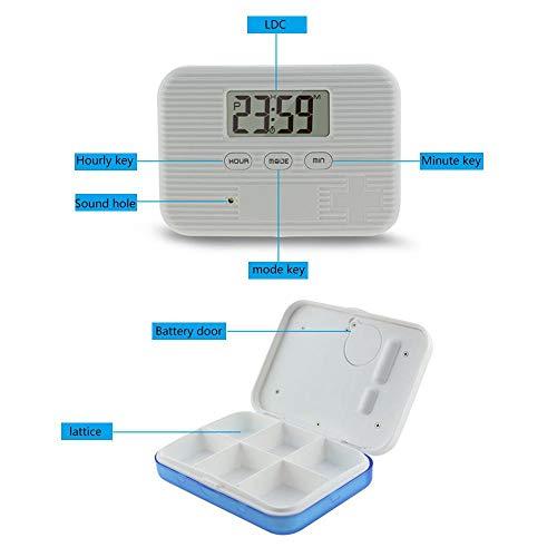 KOBWA - Caja de almacenamiento para pastillas de medicina, digital, ligera, con 5 alarmas de temporizador, pastillero de viaje 5
