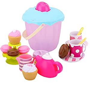 Zooawa Tea Time Set Food Play Toys, Role Play Snack Set Pretend Dessert with Big Storage Pail, 19 PCS Educational House Playthings for Kids Toddlers, Colorful