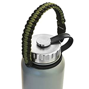 MIRA Durable Paracord Handle Water Bottle Carrier | Works with most Wide Mouth Sports Vacuum Insulated Water Bottles | 4 Colors | BONUS: Carabiner / Key Ring | Camo