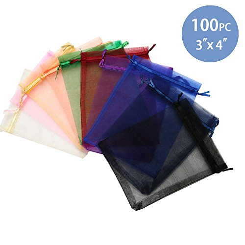 Hengu Assorted Colors Organza Drawstring Pouches Jewelry Party Wedding Favor Gift Bags, 100 Pcs 3x4