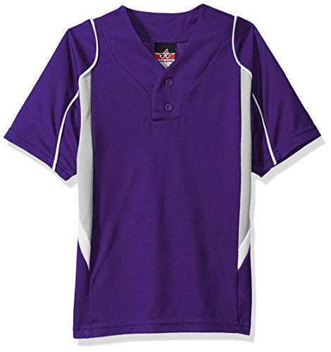 Alleson Baseball Jersey - Alleson Ahtletic Boys Youth Baseball Jersey, Purple/Grey/White, X-Small