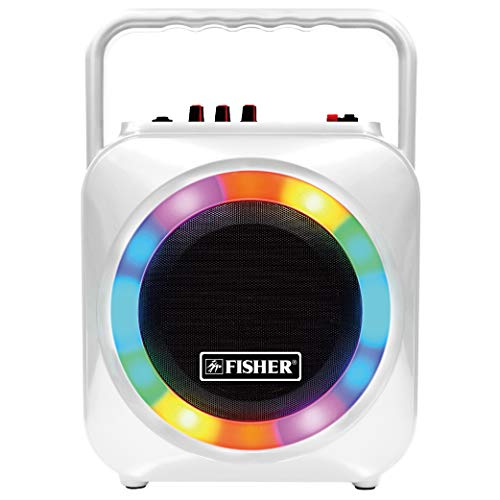 (Fisher Wireless Sports Stereo System, 6inch Subwoofer Speaker, Bluetooth Enabled, FM Radio Player, Karaoke Features with LCD Display, LED Multicolor Lights, Auxiliary Input, and Ultra-Portable Design)