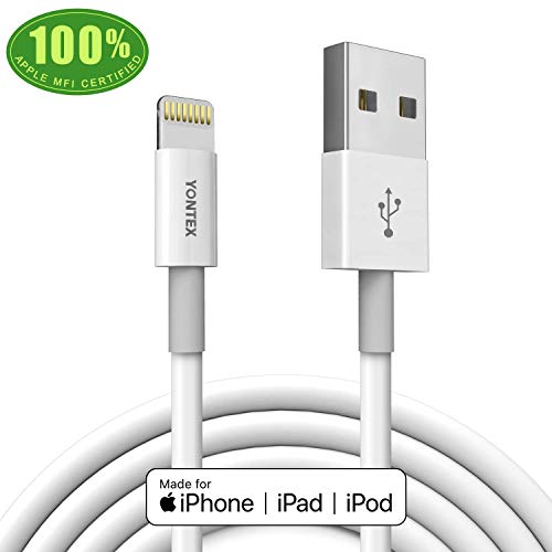 YONTEX Lightning Cable, Smart Battery Health Defender, Apple MFi Certified, 3. 3 ft iPhone Cord Compatible with iPhone X, 8, 8 Plus, 7, 7 Plus, 6s, 6s Plus, 6, 6 Plus, SE, iPad Air, etc.