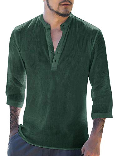 Mens Shirts Linen Hippie Summer Short Sleeve V Neck Casual T-Shirt Beach Tops Green ()