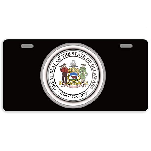 offtggh License Plate Cover Automotive License Plate Novelty Car Tag Metal Decorative Tags Auto Sign Front License Plates 2 Holes 11.8 X 6.1 Inches, The Great Seal of The State of Delaware