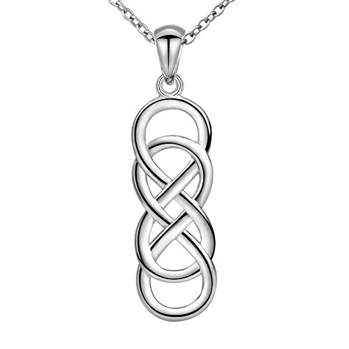 Apotie 925 Sterling Silver Infinity Love Celtic Knot Pendant Necklaces Jewelry Gift for (Celtic Knot Pendant Charm)