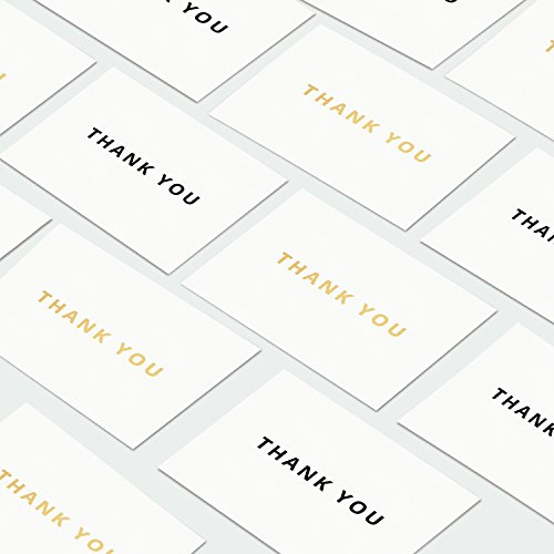 Simple Luxury Gold Foil & Black Thank You Cards - All Events - Set of 30 with Easy Seal Envelopes - Heavy Textured Note Cards - BONUS Stickers