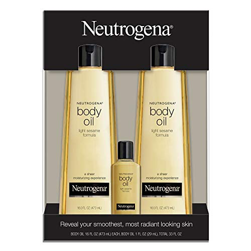 2 Pack of Neutrogena Body Oil Light Sesame Formula, 2-16 fl. oz bottles, Total of 32 fl. oz.