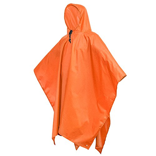 Terra Hiker Rain Poncho, Waterproof Raincoat with Hoods for Outdoor (Orange Raincoat)