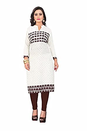 Angel Off White Color Cotton Fabric 3 4th Sleeve Printed Kurti For Women e7fd078165