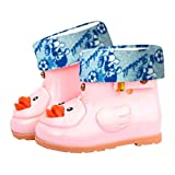 Suma-ma Infant Kids Children Baby Cartoon Duck Rubber Waterproof Warm Boots Rain (pink, 29)