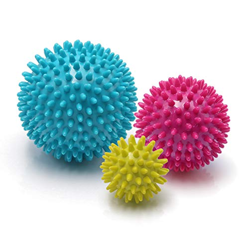 Spiky Massage Balls Deep Tissue - Foot Massage Ball Set for Plantar Fasciitis Pain Relief, Foot, Back, Neck, Shoulder, Hand Tissue Massager Tools Muscle Roller Deep Tissue Trigger Point Therapy 3 Pack