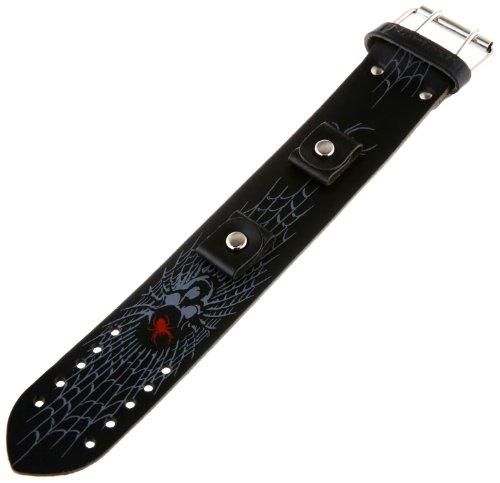 Watch Cuff Skull (Nemesis SPW 38-mm Leather Cuff Band Spiderweb Skull Black 18-20mm Lug Watch Strap)