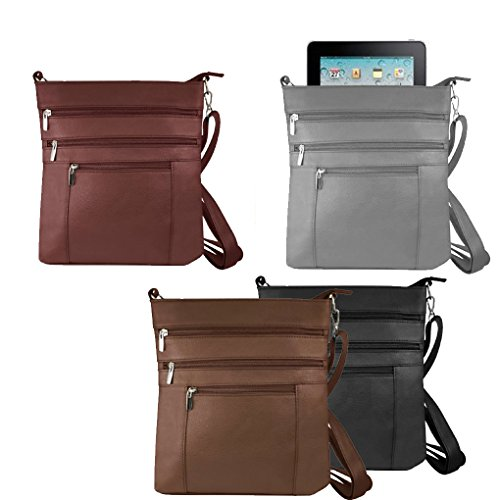 Ipad Compatible Cross Shoulder Leather Unisex 603 Bag Brown Messenger Body Fever Silver Italian WUA18R1