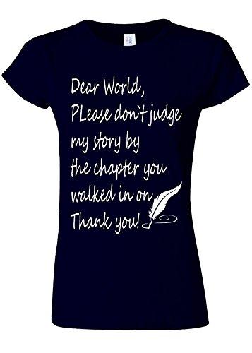 廃止ブラウズ星Please Do Not Judge My Story Novelty Navy Women T Shirt Top-L