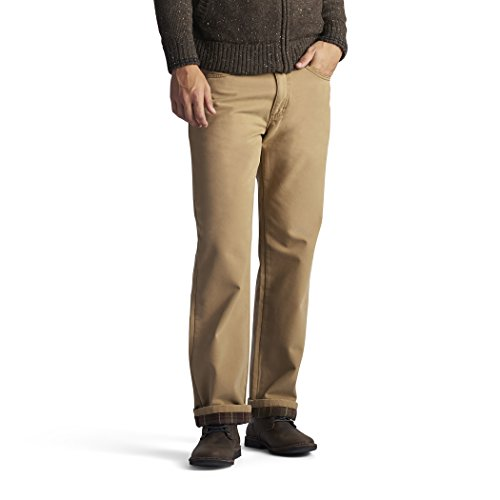 Lee Men's Fleece and Flannel Lined Relaxed-Fit Straight-Leg Jeans, Antique Bronze, 38W X 32L