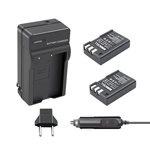 En El9 Replacement (Bonacell 2 Pack 2000mAh Replacement Nikon EN-EL9 Li-ion Battery and Charger Kit for Nikon D5000 D3000 D60 D40x D40 Digital SLR Camera)