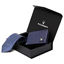 WildHorn Men 100% Genuine Leather Wallet and Tie Gift Set C