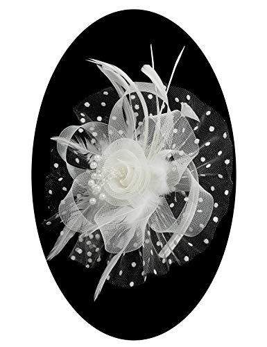Myjoyday Fascinators for Women Tea Party Cocktail Headwear Flower Feather Wedding Headband Veil Hats Hair Clip (White)