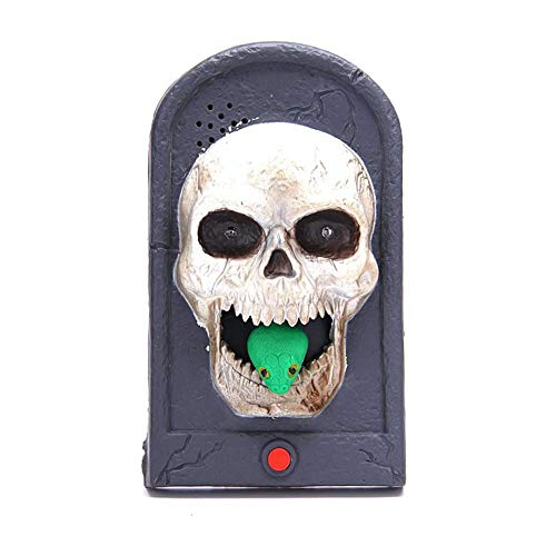 Aolvo Halloween Decorations Outdoor Scary Animated Doorbell with Light Up Eyeball Talking Scary Sounds, Halloween Decor Witch Vampire Skull Props