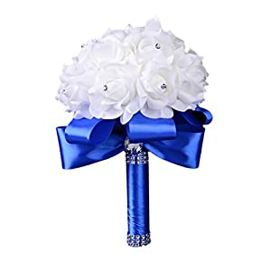 Colorful Foam Roses Artificial Flower Wedding Bride Bouquet Party 17