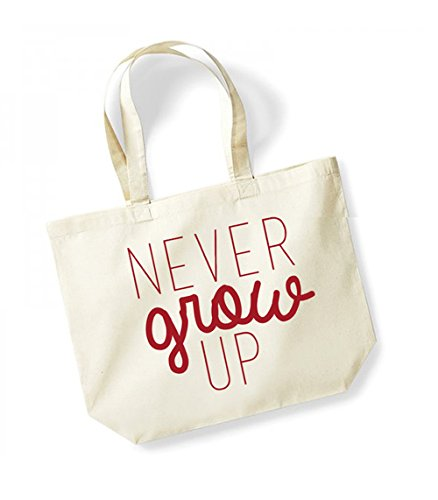 Never Grow Up - Large Canvas Fun Slogan Tote Bag Natural/Red