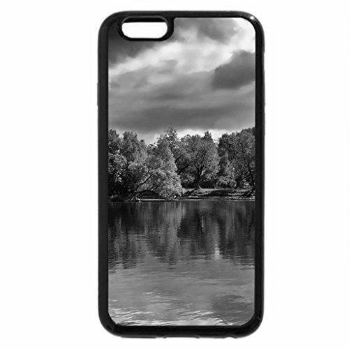 iPhone 6S Plus Case, iPhone 6 Plus Case (Black & White) - Clouds over the green lake