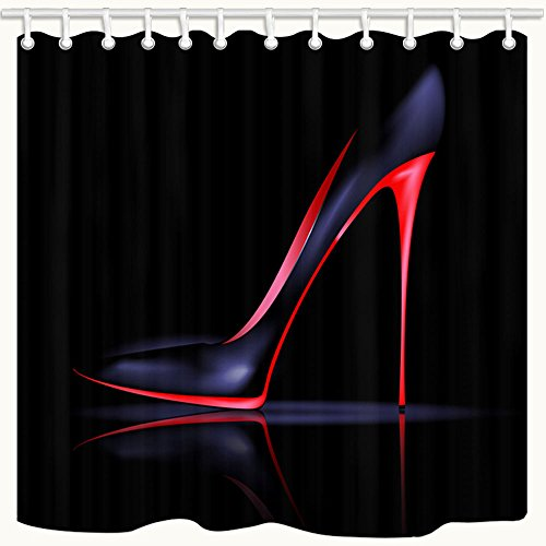 KOTOM Sex Woman Decor Shower Curtain, Ladies High Heels on Black Background, Polyester Fabric Bath Curtains with Hooks 69W X 70L Inches by KOTOM