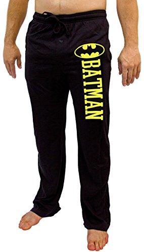 Batman DC Comics Logo Men's Pajama Pants - Black (Small) (Mens Dc Sweatpants)