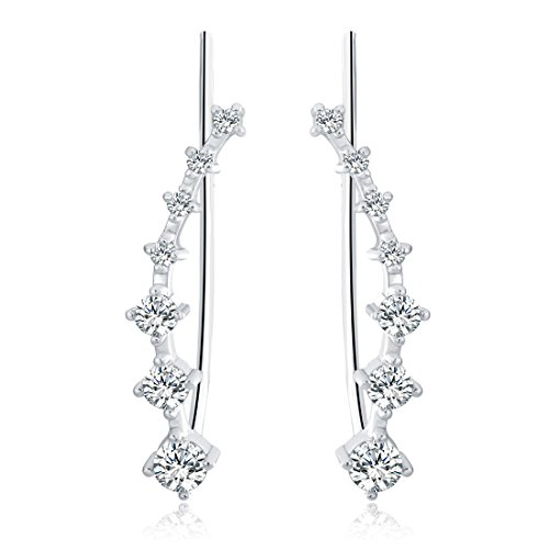 Fettero Womens CZ Crystal Leaf Ear Wrap Cuffs Climber Sweep Stud Earings Pin Hypoallergenic Sliver