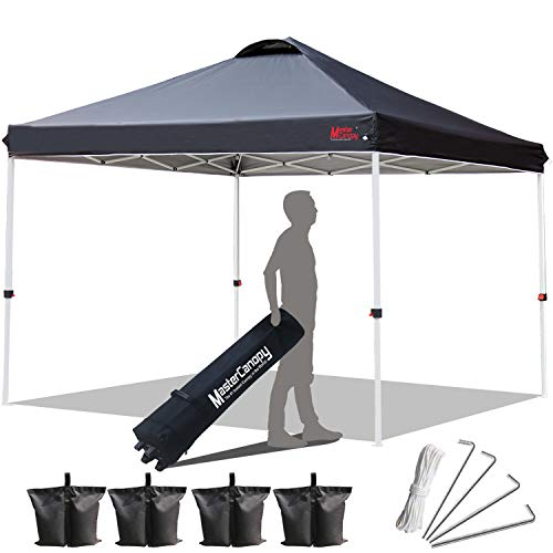 MASTERCANOPY Compact Canopy 10×10 Ez Pop up Canopy Portable Shade Instant Folding Better Air Circulation Canopy with Wheeled Bag Black