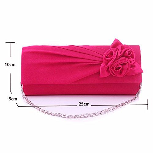 Satén Rosa Para Mujer Novia De La Boda Bolsa De Embrague Bolso De Noche De Las Señoras Florales Del Partido plateado
