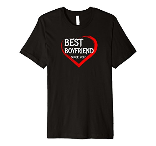 Mens Best Boyfriend Since 2017 1st Year Anniversary Tee Premium XL Black