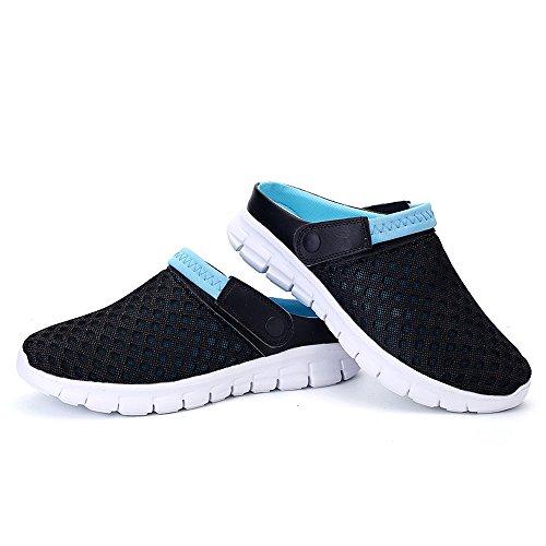 azul zapatillas transpirables playa sandalias unisex Bwiv las correa zuecos 43 tallas 37 verano de con Negro y de ligeros de xqHx4nf